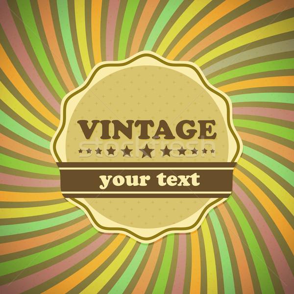 Vintage label on sunrays background Stock photo © punsayaporn