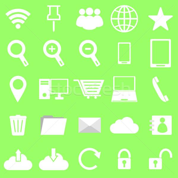 Интернет иконы зеленый складе вектора телефон ноутбука Сток-фото © punsayaporn