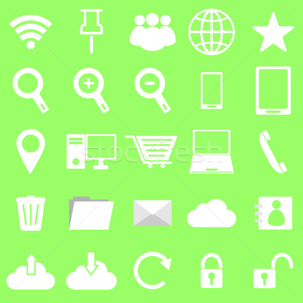 Internet icons on green background Stock photo © punsayaporn