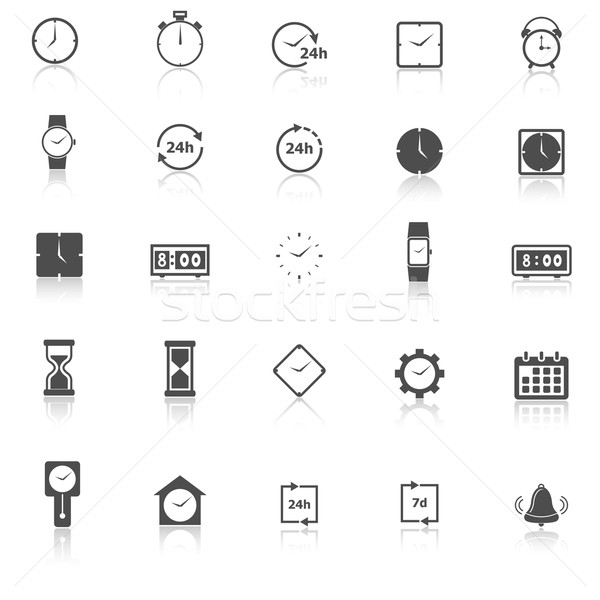 Time icons with reflect on white background Stock photo © punsayaporn