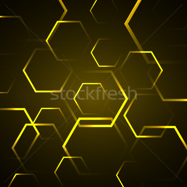 Abstract Geel zeshoek voorraad vector computer Stockfoto © punsayaporn