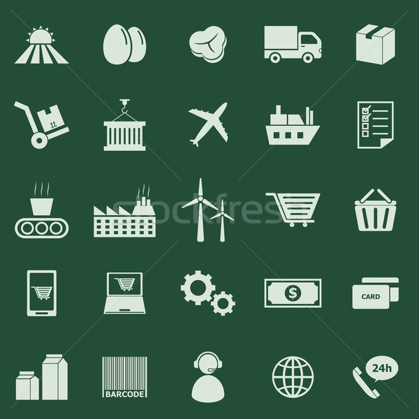 Supply chain color icons on green background Stock photo © punsayaporn