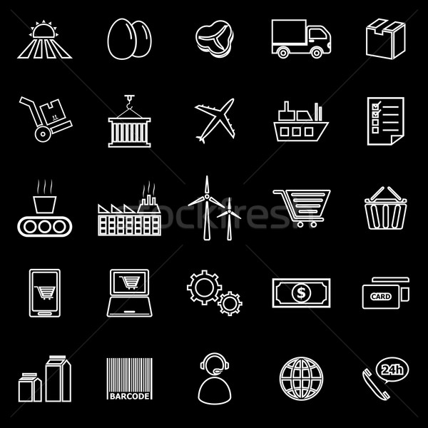 Supply chain line icons on black background Stock photo © punsayaporn