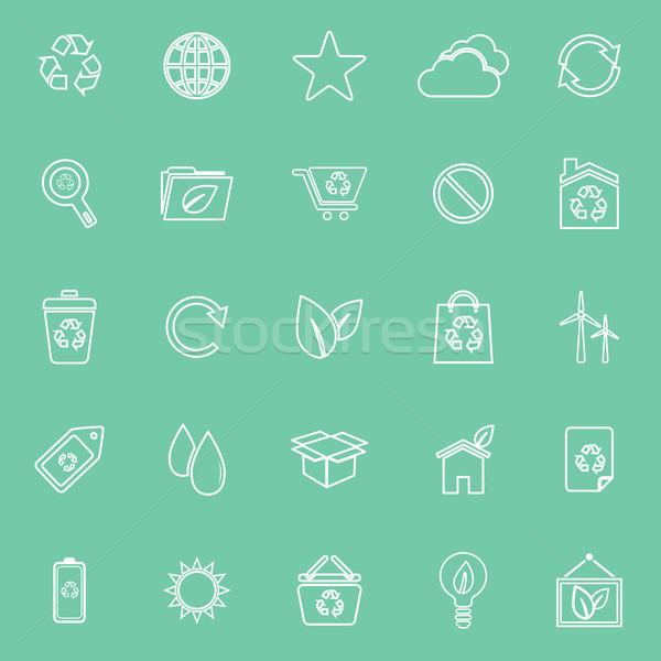 Ecologie lijn iconen groene voorraad vector Stockfoto © punsayaporn