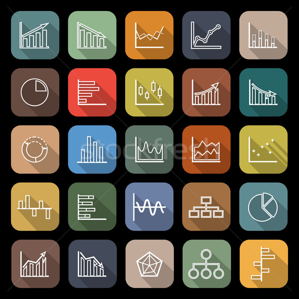 Graph line flat icons with long shadow Stock photo © punsayaporn