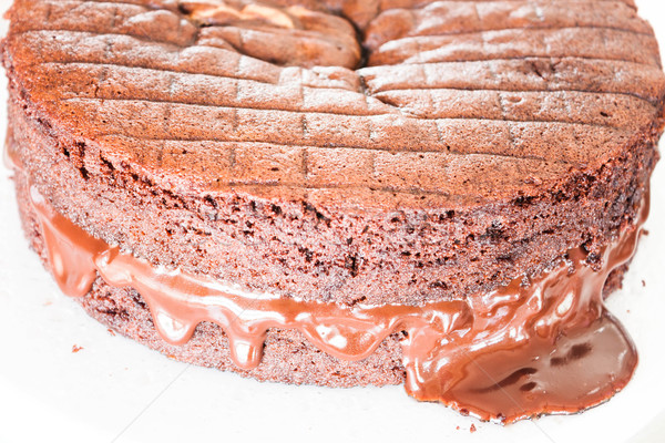 Chocolate fillings melt from chiffon chocolate cake  Stock photo © punsayaporn