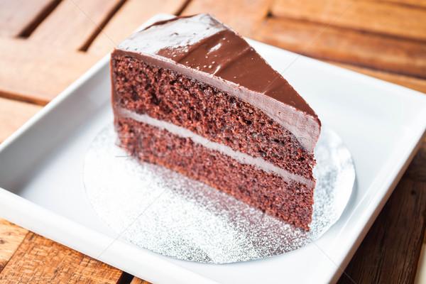 Chocolate chiffon cake serving on white plate  Stock photo © punsayaporn