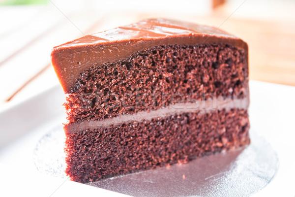 Part of chocolate chiffon cake up close Stock photo © punsayaporn