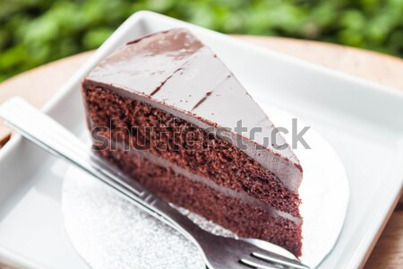 Chocolate cake serving on white dish with spoon and fork Stock photo © punsayaporn