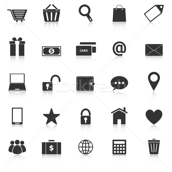 Ecommerce icons with reflect on white background Stock photo © punsayaporn