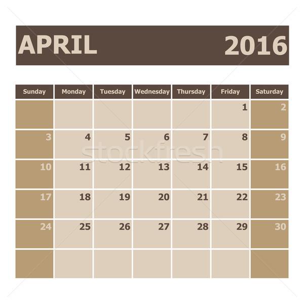 Calendar April 2016, week starts from Sunday Stock photo © punsayaporn