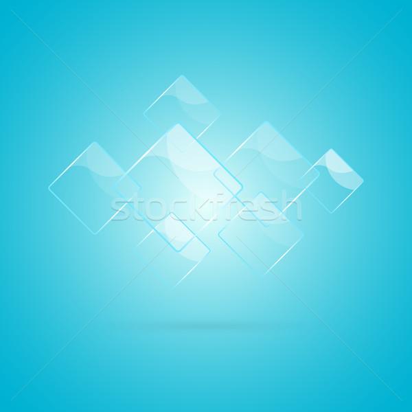 Abstract glanzend communie Blauw business ontwerp Stockfoto © punsayaporn