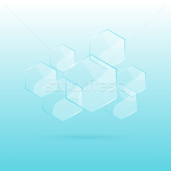 Hexagon transparent elements on blue background Stock photo © punsayaporn