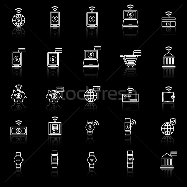 Fintech line icons with reflect on black background Stock photo © punsayaporn