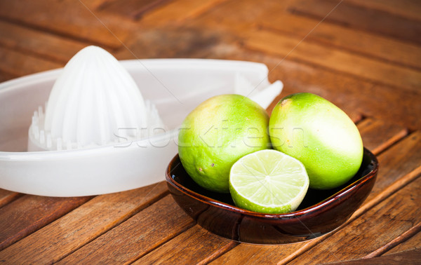 Fresh citrus lime wholes and slice prepare for squash Stock photo © punsayaporn