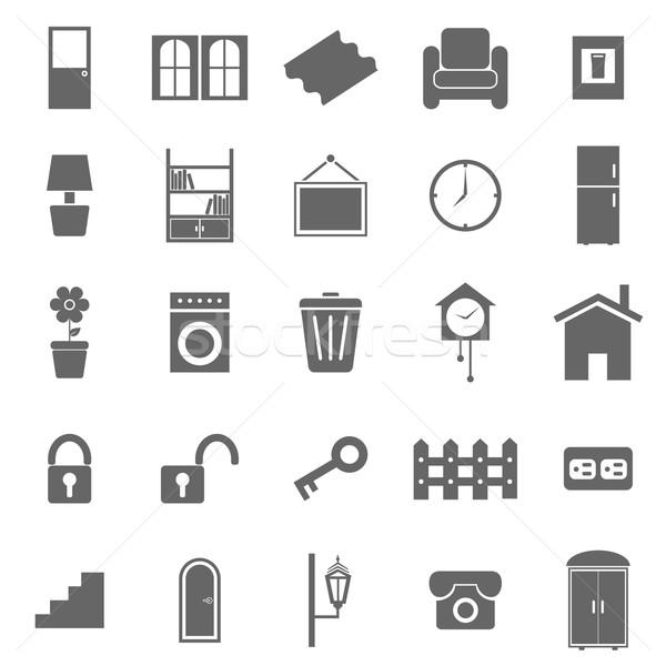 House related icons on white background Stock photo © punsayaporn