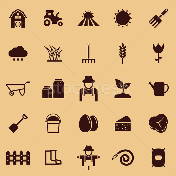 Farming color icons on brown background Stock photo © punsayaporn
