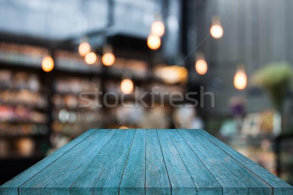 Kék asztal felső fa kávéház elmosódott Stock fotó © punsayaporn