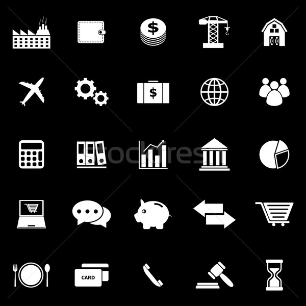 Economía iconos negro stock vector dinero Foto stock © punsayaporn