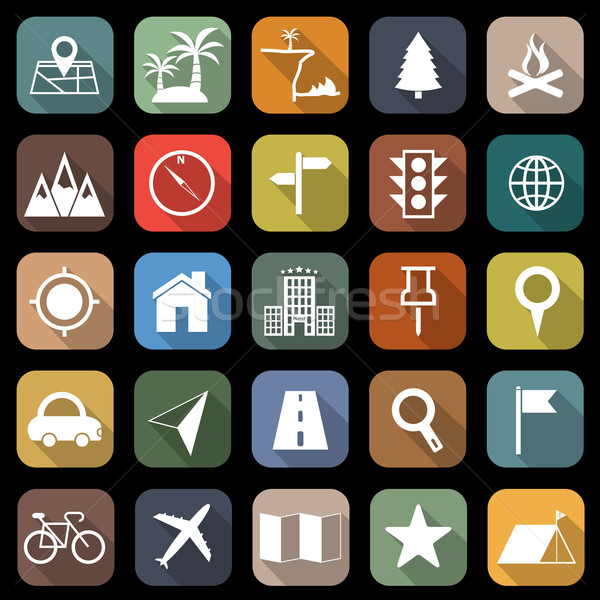 Location flat icons with long shadow Stock photo © punsayaporn