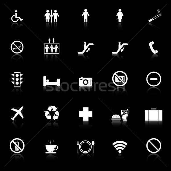 Plublic icons with reflect on black background Stock photo © punsayaporn