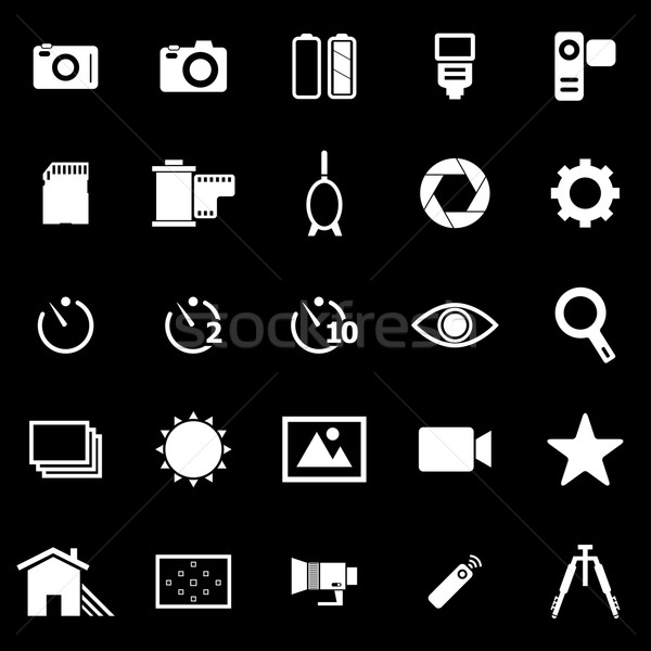 Camera icons on black background Stock photo © punsayaporn