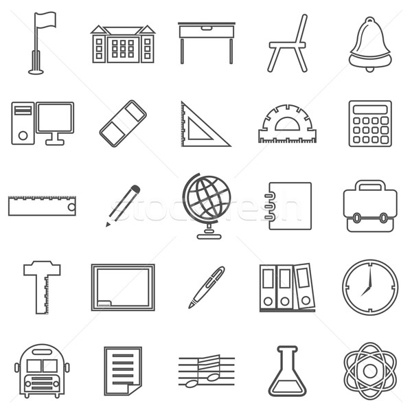 School lijn iconen witte voorraad vector Stockfoto © punsayaporn