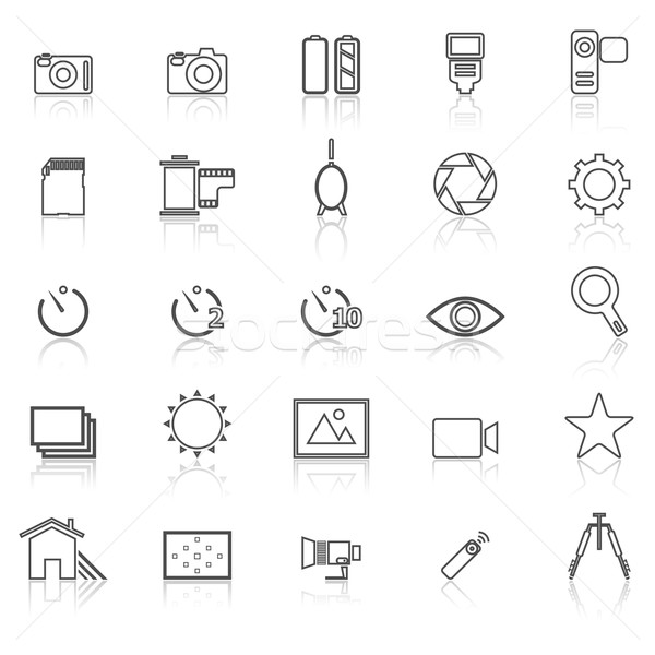 Camera line icons with reflect on white Stock photo © punsayaporn