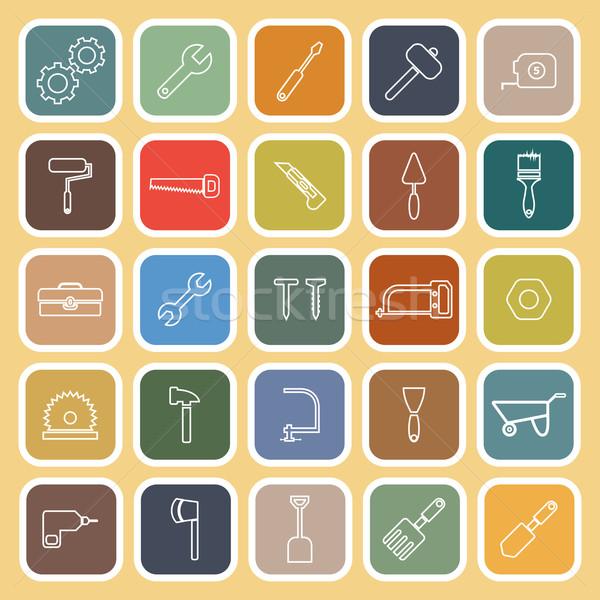 Tool line flat icons on yellow background Stock photo © punsayaporn
