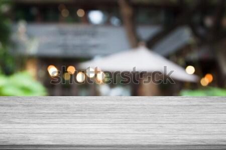 Сток-фото: черно · белые · деревянный · стол · Top · кафе · расплывчатый · аннотация
