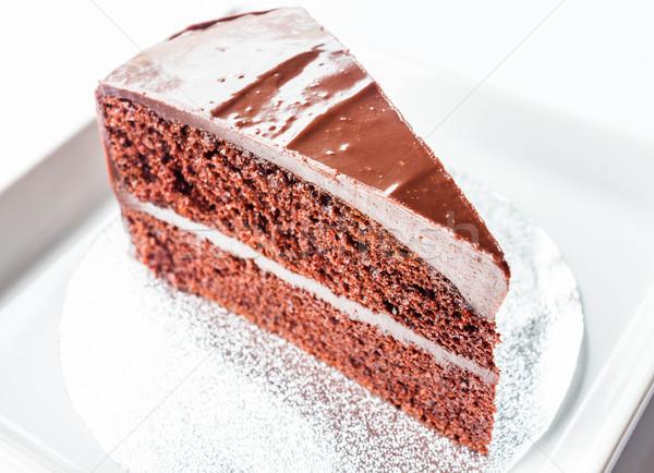Piece of chocolate chiffon cake on white dish Stock photo © punsayaporn