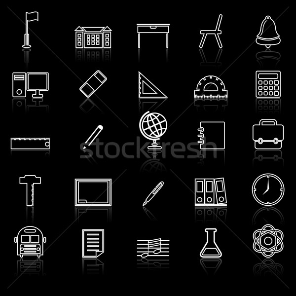 School line icons with reflect on black Stock photo © punsayaporn