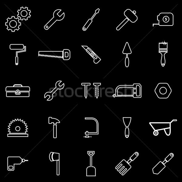 Szerszám vonal ikonok fekete stock vektor Stock fotó © punsayaporn