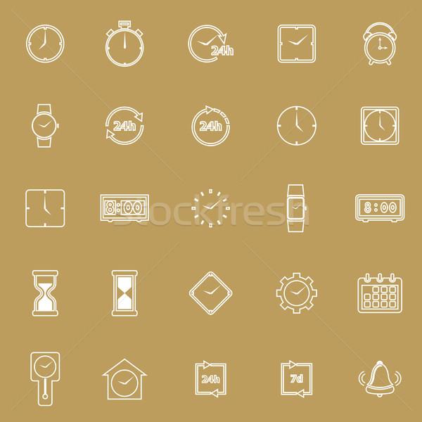 Zeit line Symbole braun hat Vektor Stock foto © punsayaporn