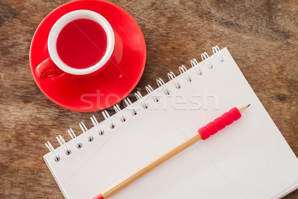 Сток-фото: красный · кружка · открытых · ноутбук · складе · фото