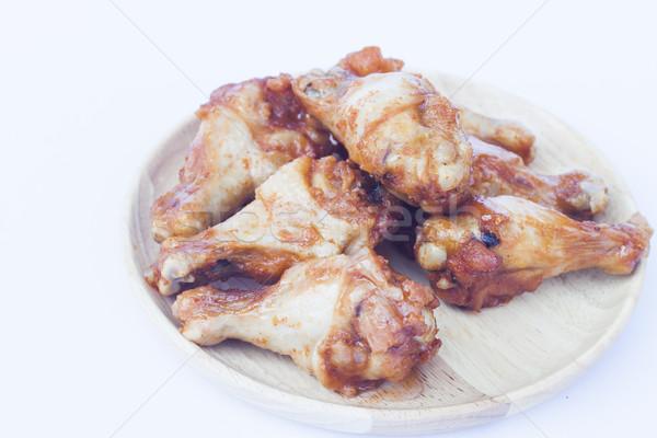 курица-гриль крыльями изолированный белый складе фото Сток-фото © punsayaporn