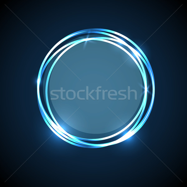 Abstract background with blue neon circles banner Stock photo © punsayaporn