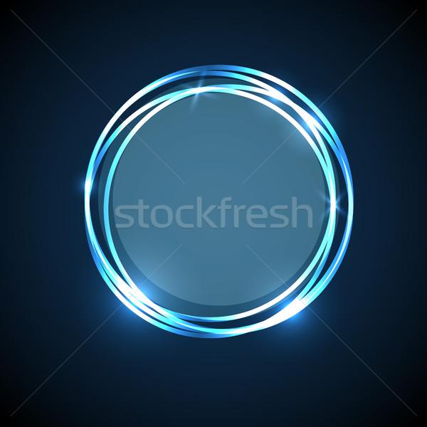 Abstract Blauw neon cirkels banner voorraad Stockfoto © punsayaporn