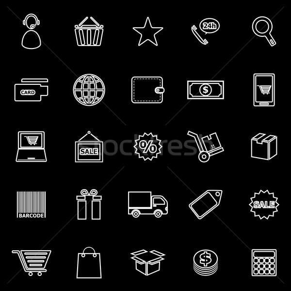 E-commerce line icons on black background Stock photo © punsayaporn