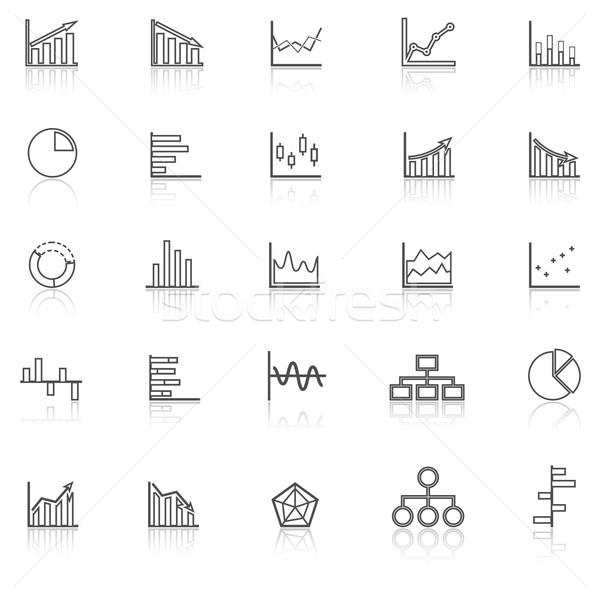 Foto stock: Gráfico · linha · ícones · branco · estoque · vetor