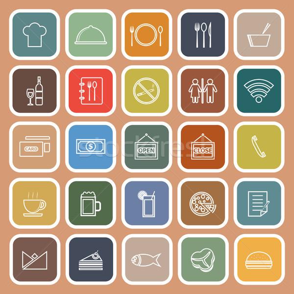 Restaurant line flat icons on orange background Stock photo © punsayaporn