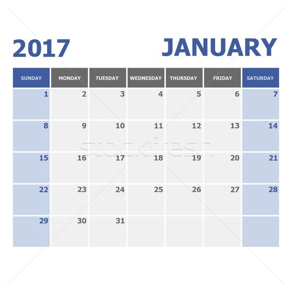 2017 January calendar week starts Sunday Stock photo © punsayaporn
