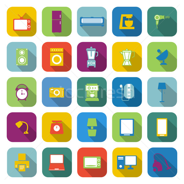 Household color icons with long shadow Stock photo © punsayaporn