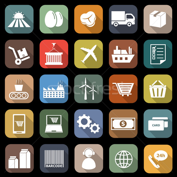 Supply chain flat icons with long shadow Stock photo © punsayaporn