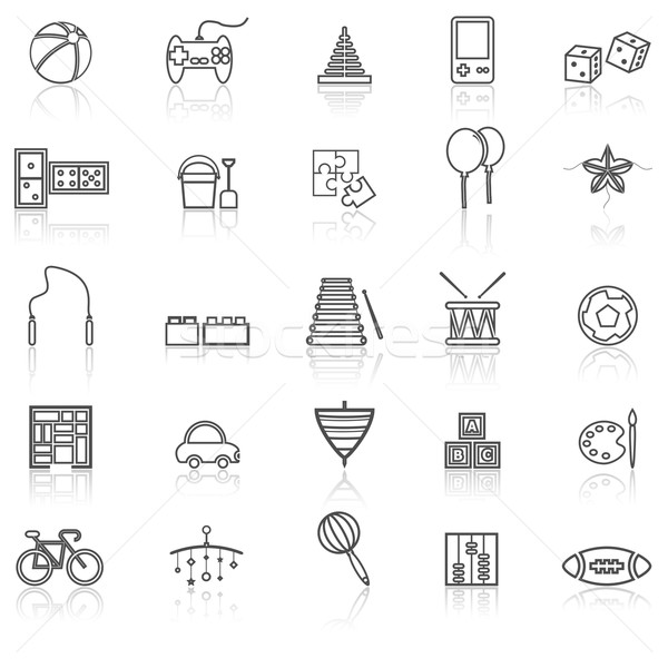 Toy line icons with reflect on white Stock photo © punsayaporn
