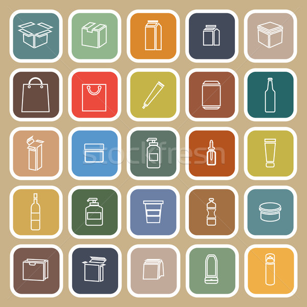 Packaging line flat icons on brown background Stock photo © punsayaporn