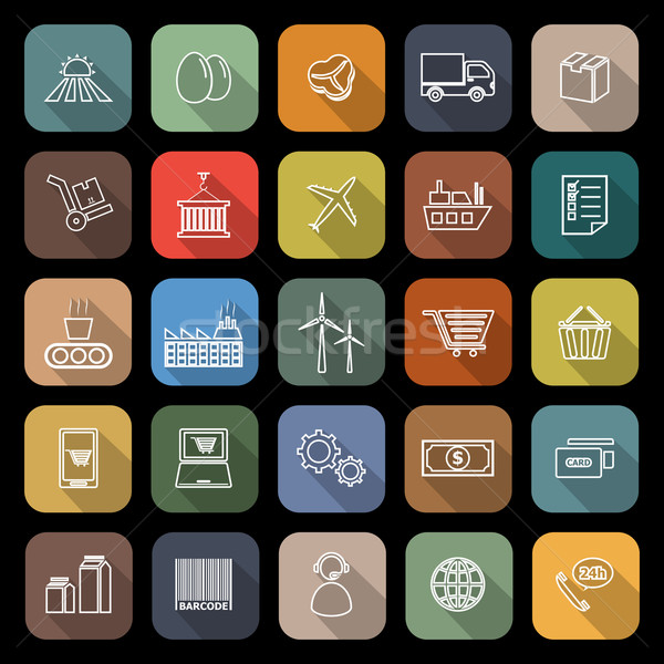 Stock photo: Supply chain line flat icons with long shadow