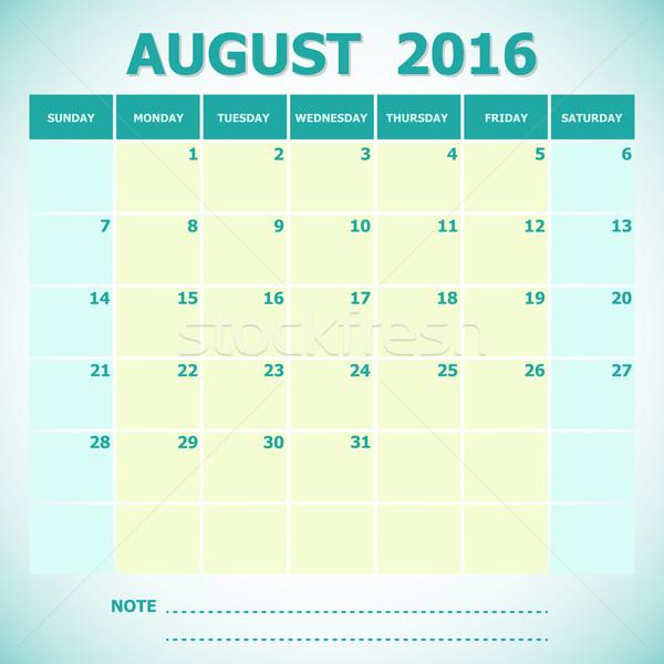 Calendario agosto 2016 settimana stock vettore Foto d'archivio © punsayaporn