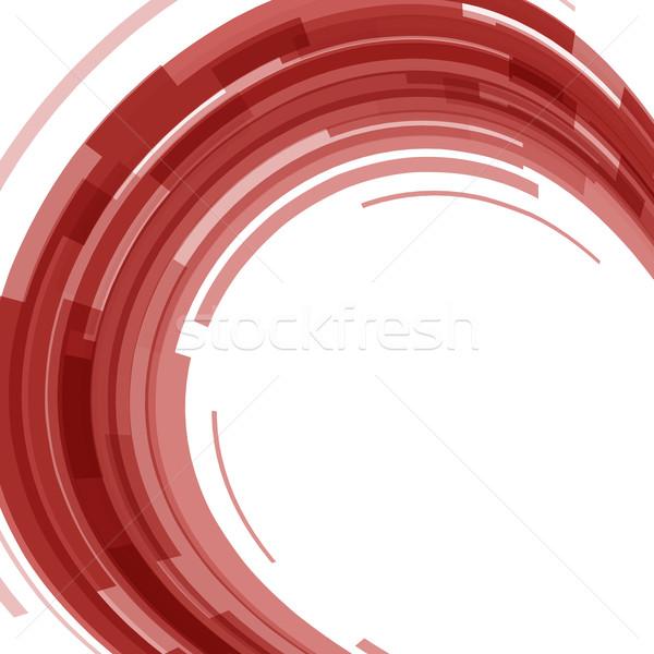 Streszczenie czerwony technologii circles zniekształcony czas Zdjęcia stock © punsayaporn