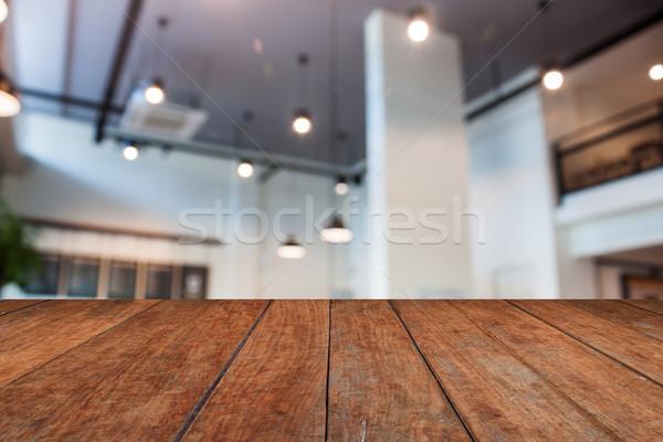 ブラウン 木製のテーブル 先頭 抽象的な ぼかし コーヒーショップ ストックフォト © punsayaporn